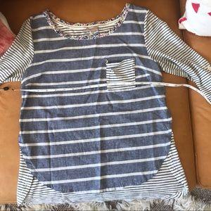 XS Anthropologie chambray striped tee pocket